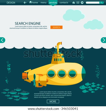 submarine undersea flat design