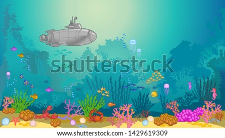 submarine underwater. underwater landscape with fishes and seaweed. Sea bottom.