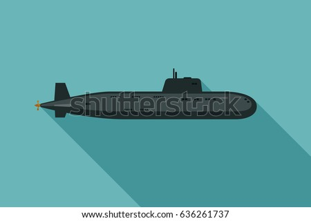 submarine with long shadow in