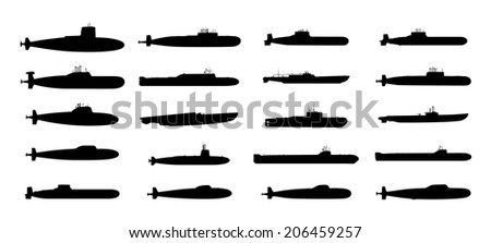submarines black silhouettes