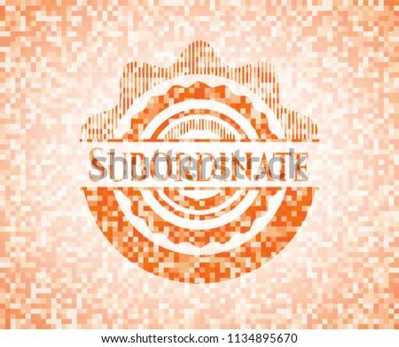 Subordinate abstract orange mosaic emblem