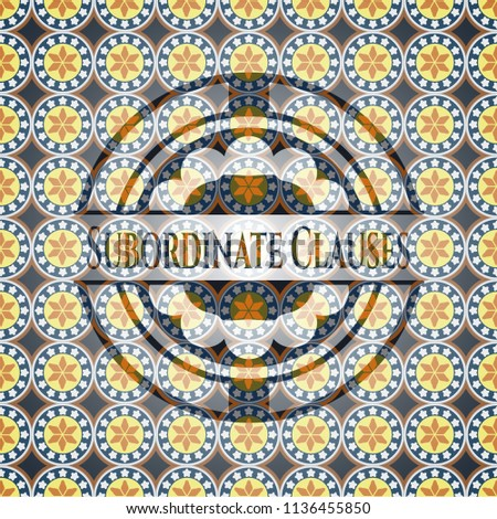 Subordinate Clauses arabic style emblem. Arabesque decoration.
