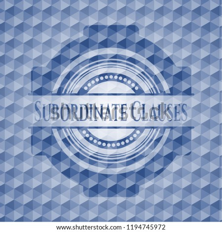 Subordinate Clauses blue emblem with geometric pattern.