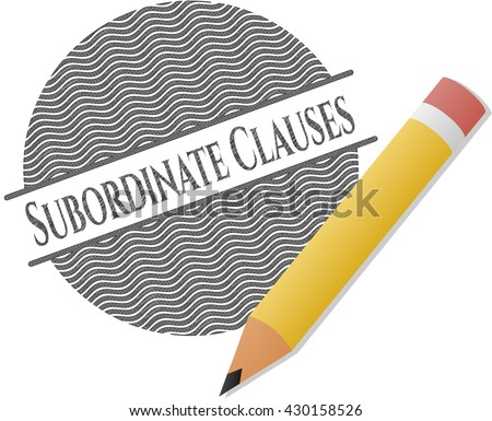 Subordinate Clauses emblem draw with pencil effect