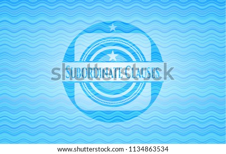 Subordinate Clauses sky blue water badge background.