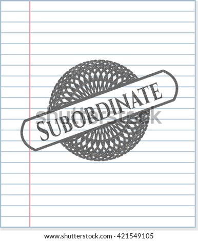 Subordinate pencil strokes emblem