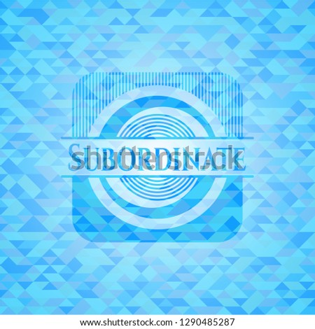 Subordinate sky blue emblem with mosaic ecological style background