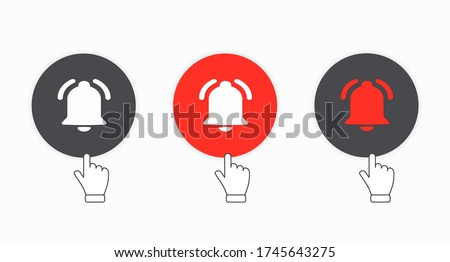 Subscribe, bell button and hand cursor. Button subscribe to channel. Blog. Stream. A set of circular notification buttons. User interface. Web design. Social media network element. Vector illustration