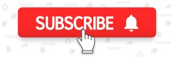 Subscribe, bell button and hand cursor. Red button subscribe to channel, blog. Social media background. Marketing. Vector illustration. EPS 10