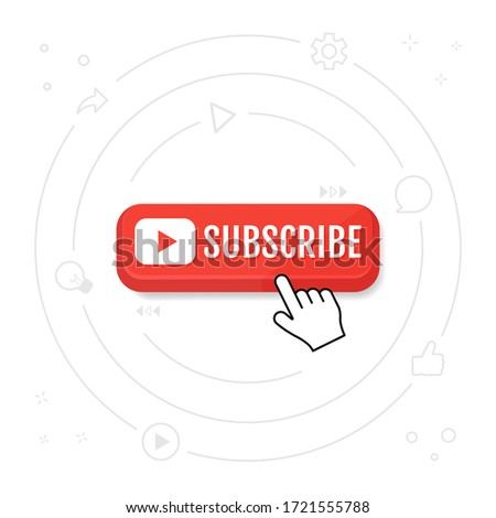 Subscribe, call button and hand cursor. Red button for subscribing to a channel, blog. Marketing. Vector illustration eps 10.