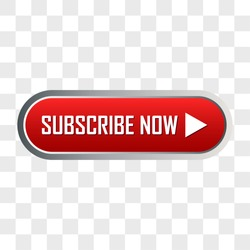 subscribe now button for social media or business concept on transparent background. vector illustration