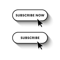 Subscribe now button. Subscribe button. Long shadow. Vector illustration.