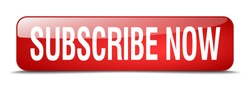 subscribe now red square 3d realistic isolated web button