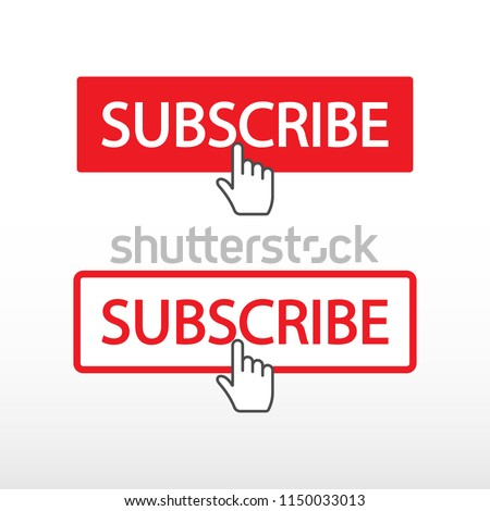 Subscribe on channel. Red button sign in social media with hand cursor. Vector illustration.