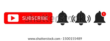Subscribe red button abd notification bells isolated symbols. Smartphone social media interface. Message bell icon. EPS 10