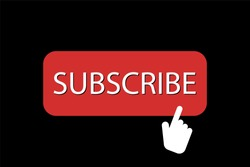 Subscribe red button with hand icon. Youtube button