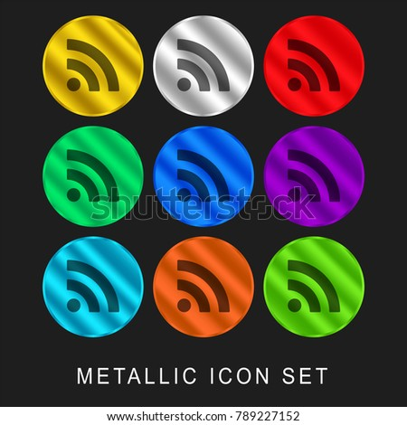 Subscribe rss button 9 color metallic chromium icon or logo set including gold and silver