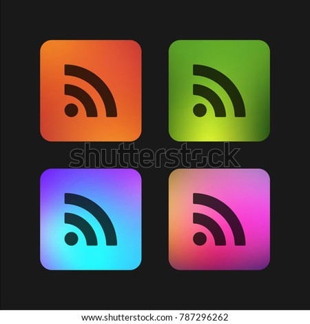 Subscribe rss button four color gradient app icon design