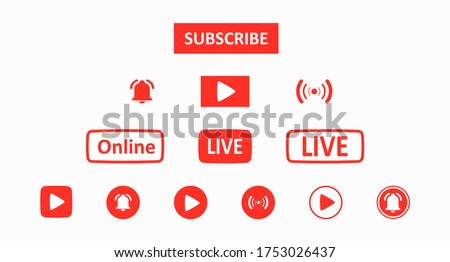 Subscribe set button. A set of red buttons for a video blog, stream, or channel drawn in a flat style. Social media network concept. Web design. Ui. Vector illustration