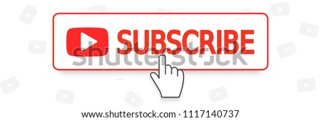SUBSCRIBE YouTube channel, button color and hand cursor with shadow. Web element ui. Vector illustration. EPS 10