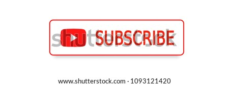 SUBSCRIBE YouTube channel, button red color with shadow. Subscribe sumbol. Vector illustration. EPS 10