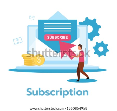 Subscription flat vector illustration. Regular, recurring payment for product, service. Monthly revenue. Continual periodic use. Membership fee. Business model. Isolated cartoon character on white