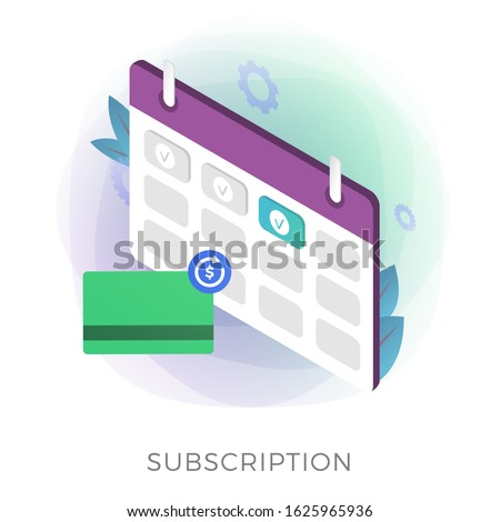 Subscription payment flat isometric vector icon. Monthly subscription basis fee concept. Credit Bank card with a recurring payment icon and calendar with a monthly payment date for a registered member