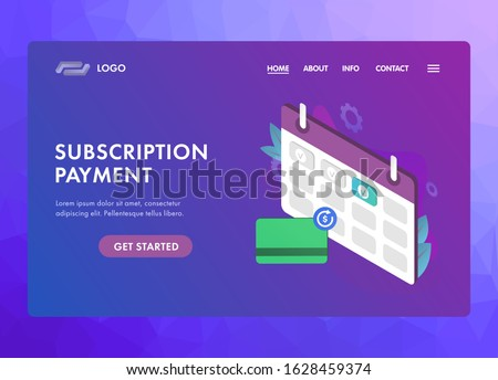 Subscription payment UI UX vector web template or landing page. Monthly subscription basis fee concept. Calendar with payment date for a registered member and a bank card with a recurring payment icon