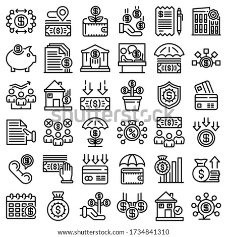 Subsidy icons set. Outline set of subsidy vector icons for web design isolated on white background Сток-фото ©