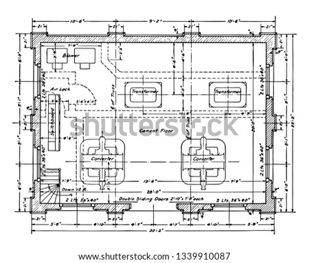 Substation Floor Residence Plan is showing the engineering structure it is a typical residence building vintage line drawing or engraving.
