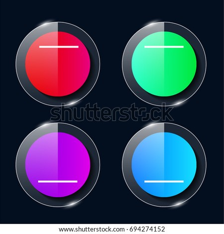 Substract four color glass button ui ux icon. Glossy app icon logo vector