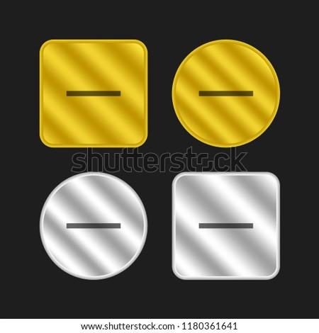 Substract gold and silver metallic coin logo icon design
