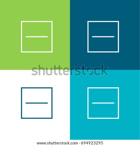 Substract green and blue material color minimal icon or logo design