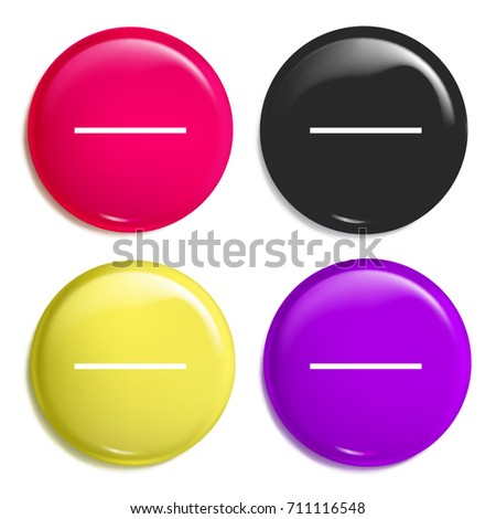 Substract multi color glossy badge icon set. Realistic shiny badge icon or logo mockup