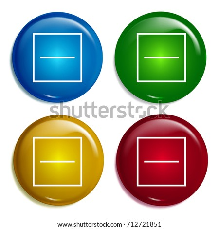 Substract multi color gradient glossy badge icon set. Realistic shiny badge icon or logo mockup
