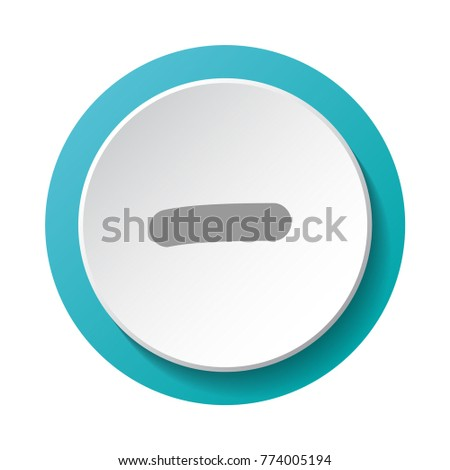 Substraction sign - minus. 3d button. Vector.