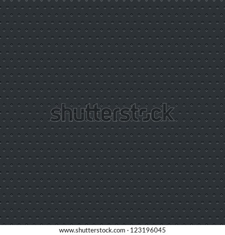 Subtle pattern seamless texture perforated circular hole black metal tile surface dark gray background. Clip-art vector illustration web design elements saved 8 eps. Contemporary swatch modern style