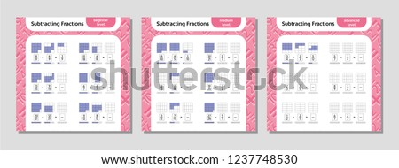 Subtracting Fractions Mathematical Worksheet Set. Squares. Coloring Book Page. Math Puzzle. Educational Game. Vector illustration.