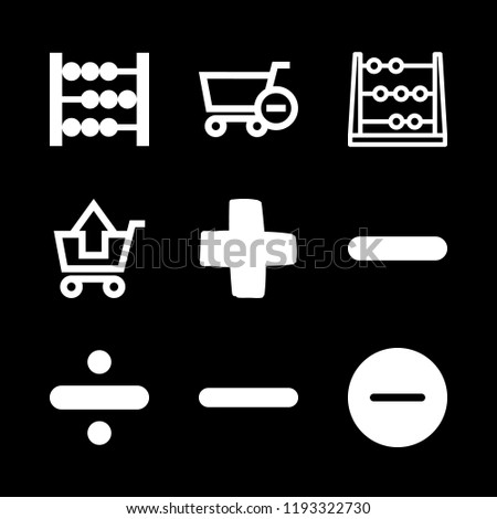 subtraction icons set with substracting of shopping cart, minus and mathematical abacus vector set