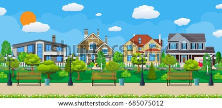 suburb concept  wooden bench