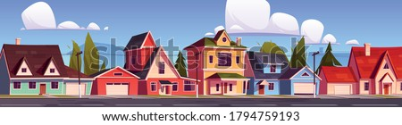Suburb houses, suburban street with residential cottages, countryside two storey buildings with garages. Home facades with green trees and asphalt road in front of yards. Cartoon vector illustration Foto stock ©