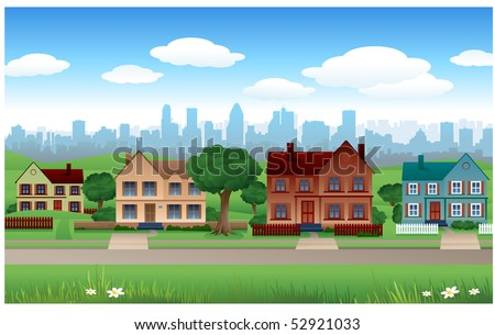 Suburb vector background