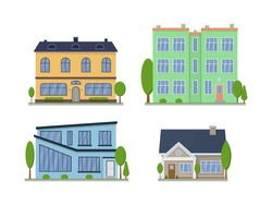Suburban American house exterior flat design front view with roof and some trees. Apartment in a townhouse. Home facade with doors and windows. Modern buildings in a flat style. Vector illustration.