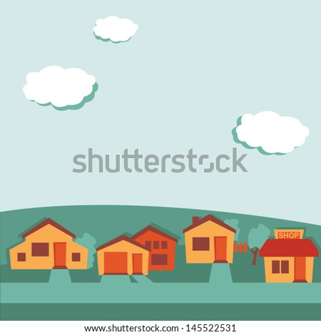 Suburban background, retro colored