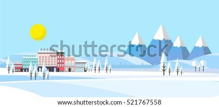 suburban buildings in winter