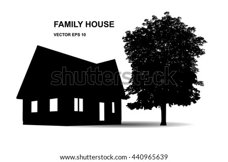 stock-vector-suburban-family-house-illustration-of-icons-with-house-and-trees-isolated-on-white-background