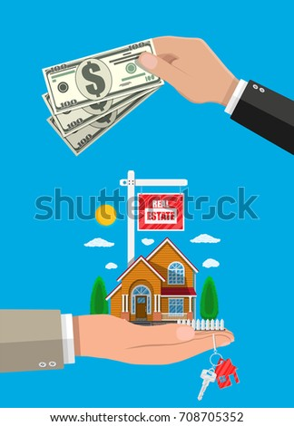 Suburban family house set in hand and money. Countryside wooden and brick house icon. Key. Sale and rent house, mansion. For sale placard. Real estate. Vector illustration in flat style
