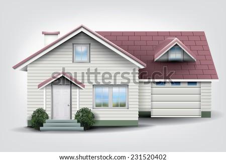Suburban family house with garage.