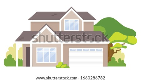 suburban house cartoon vector