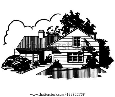 Suburban House - Retro Clip Art Illustration - stock vector